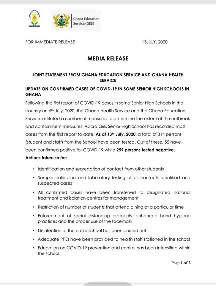 GES & MOH Statement Page 1
