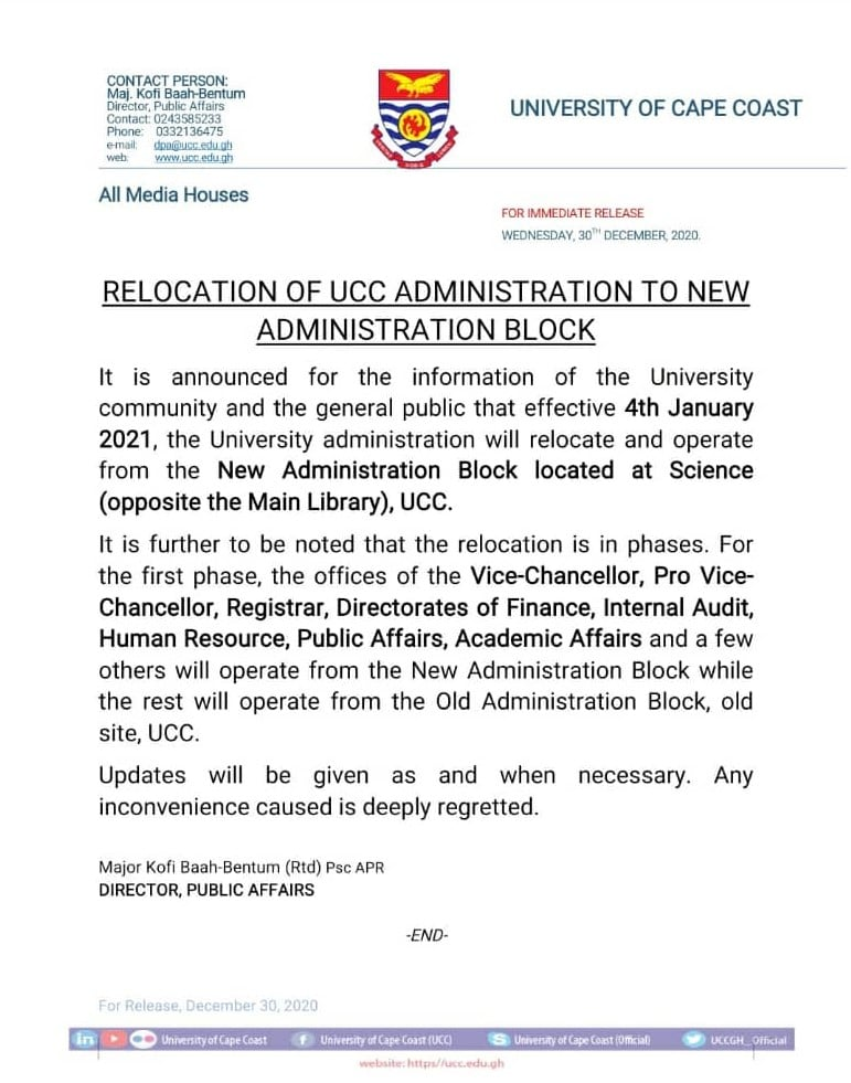 Press Release On Relocation Of Administration
