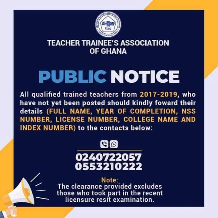 2017-2019 Unposted Trained Teachers Notice By TTAG