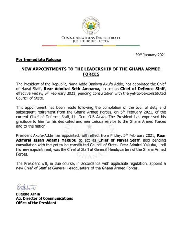 Chief Of Defense Staff In Ghana Document