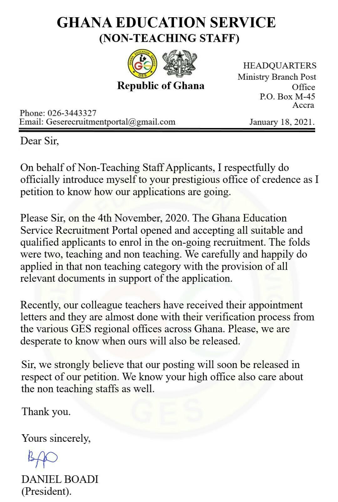 GES Non Teaching Staff Appointment