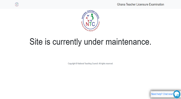 NTC Site Is Currently Under Maintenance