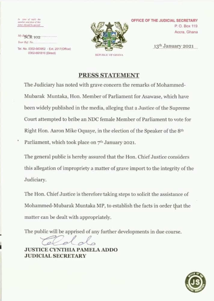 Press Release By The Office Of Judicial Secretary