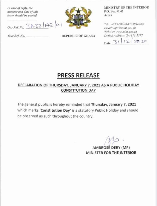 Press Release By Ministry Of Interior