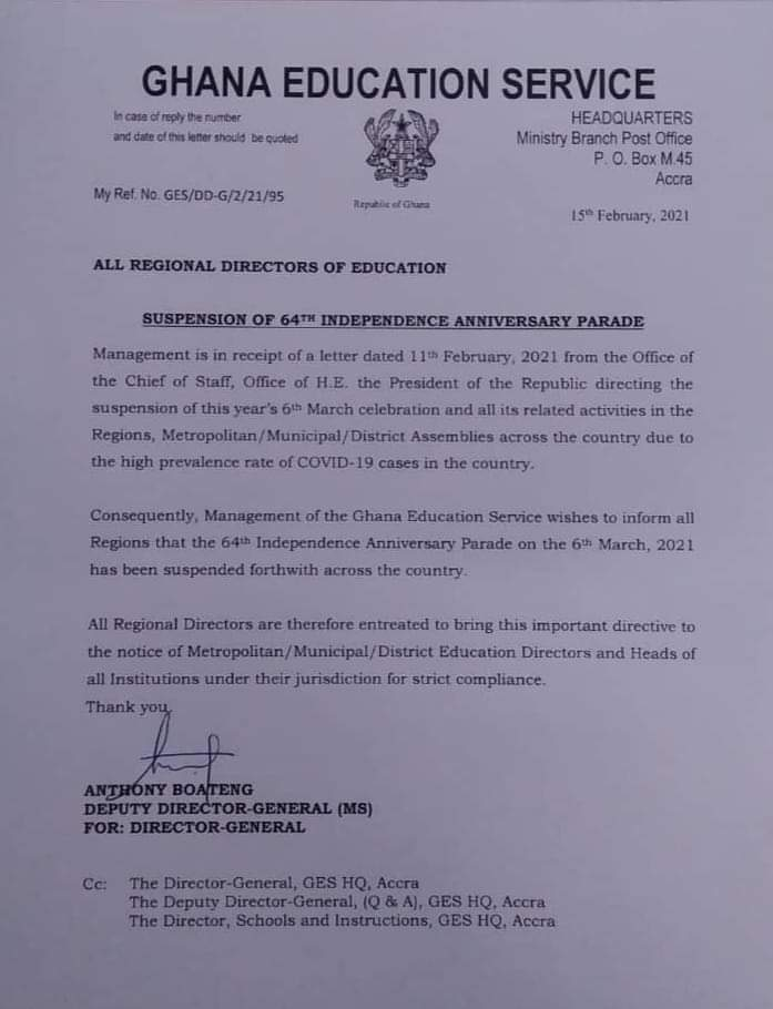 [Press Release] 6th March Parade Suspended - GES