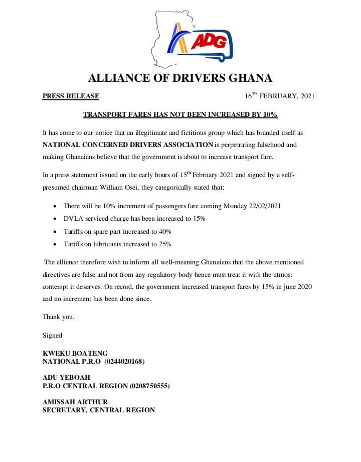 Alliance of Drivers Ghana Statement On Fare Increment