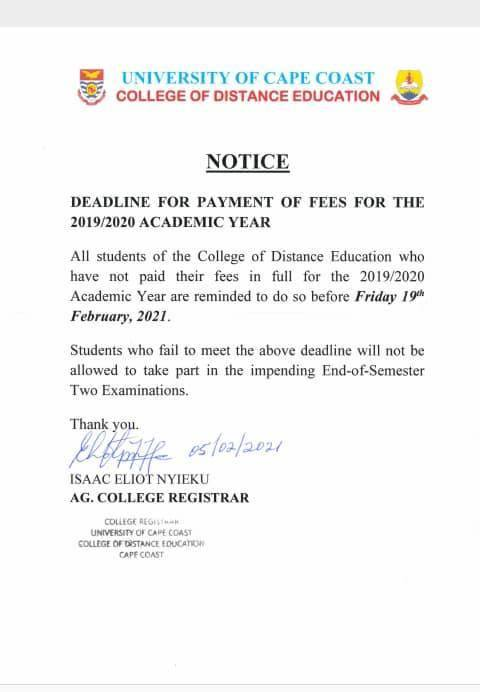 CoDE-UCC Deadline For Payment Of Fees
