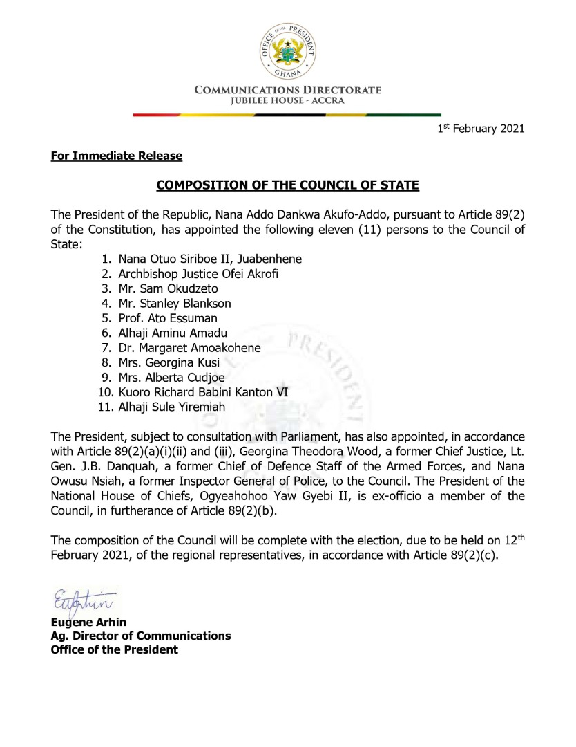 Council Of State In Ghana