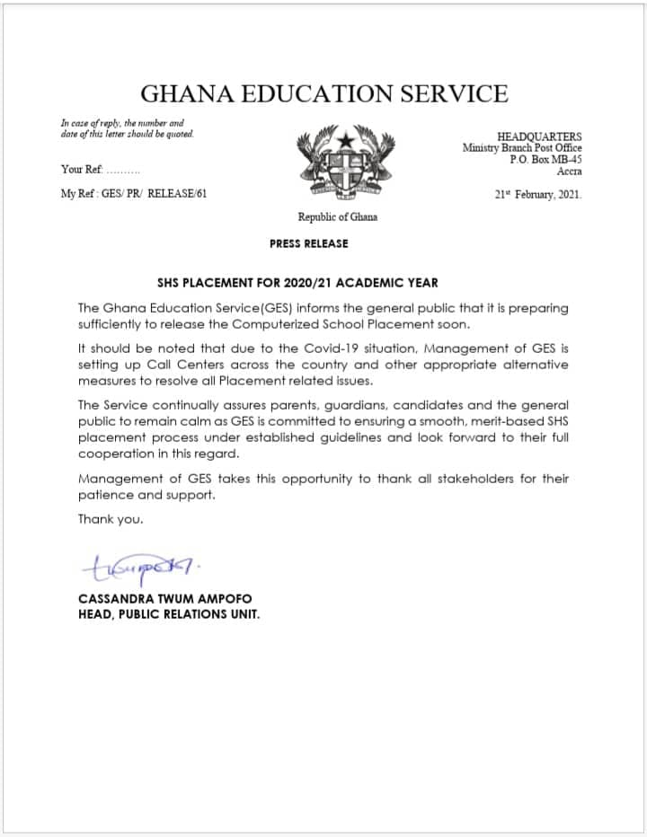 GES Press Statement On Why School Placement Could Not Be Released
