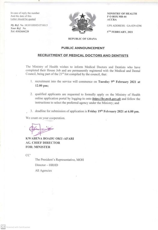 MOH Recruitment Of Medical Doctors And Dentists