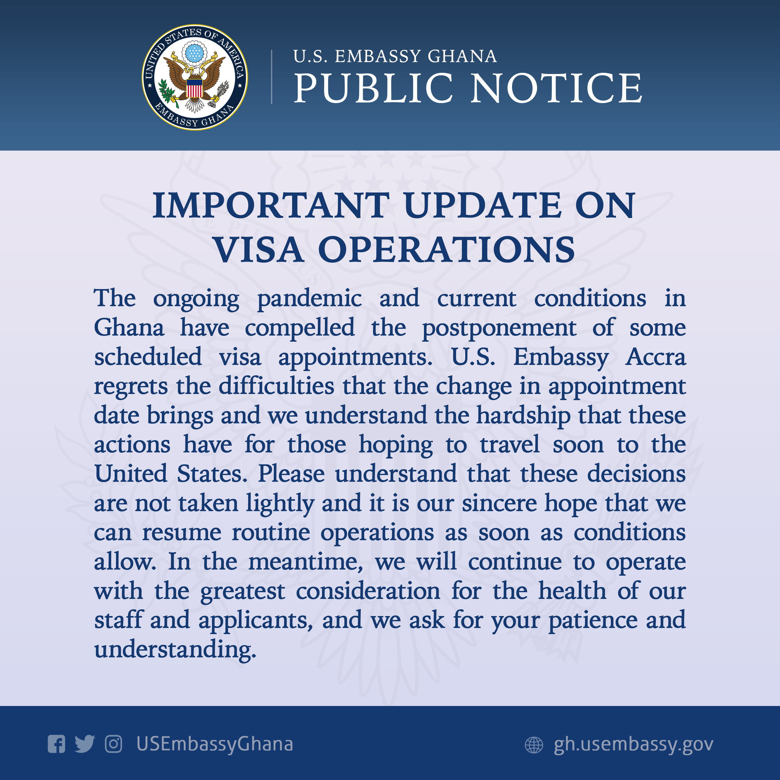 Scheduled Visa Appointment By U.S Embassy Ghana