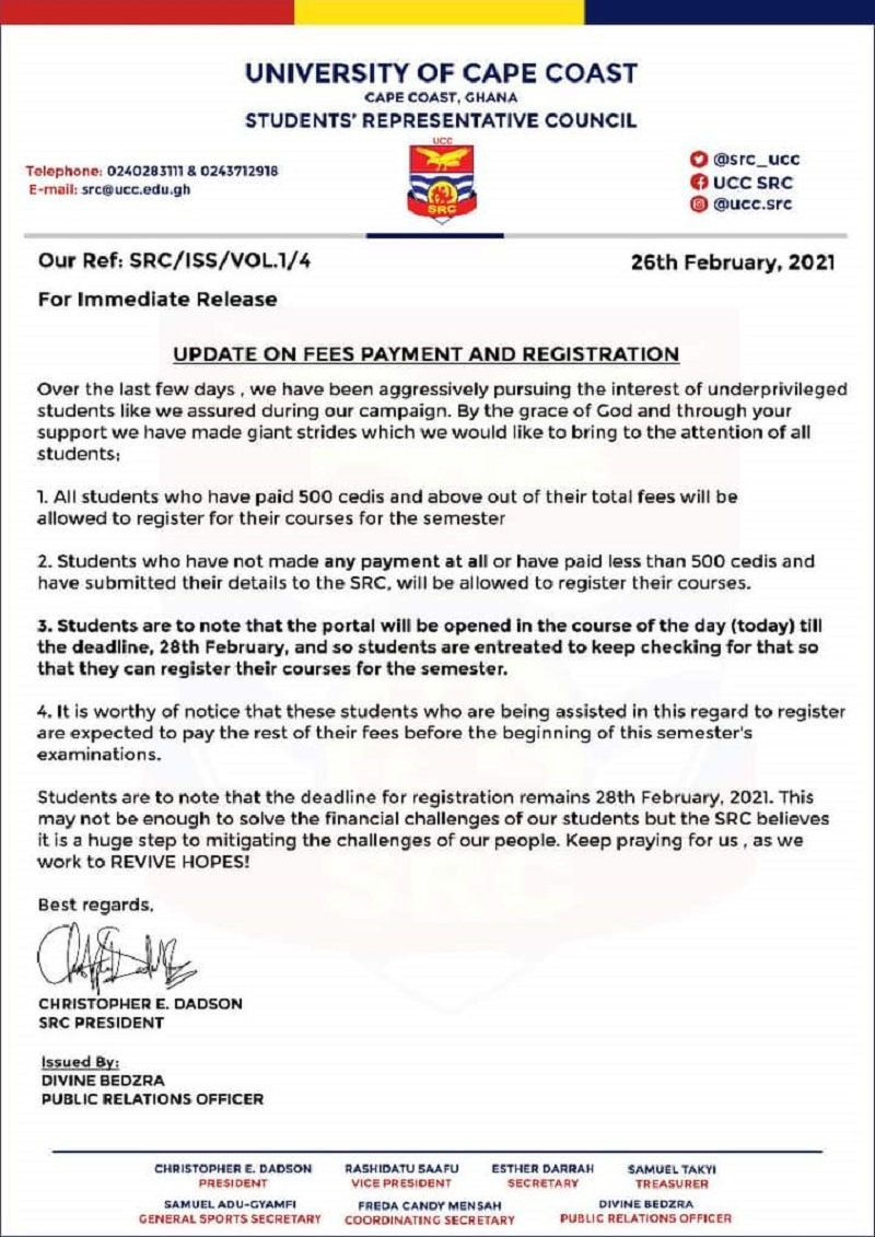 Update On Fees Payment & Registration